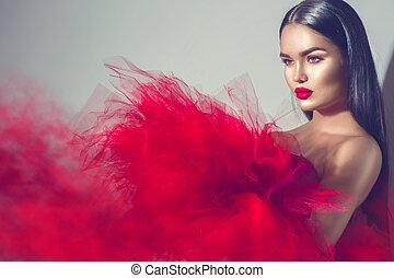nagyszerű, barna nő, formál, nő, alatt, piros ruha, feltevő, alatt, műterem