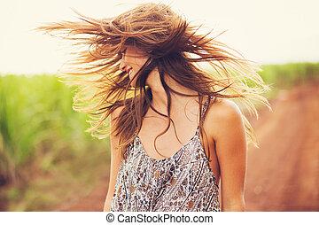 nagyszerű, romantikus, leány, outdoors., nyár, életmód