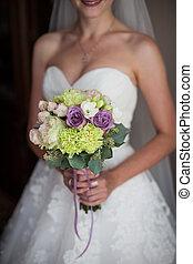 nagyszerű, szexi, menyasszony, alatt, white ruha, birtok, esküvő bouquet, closeup
