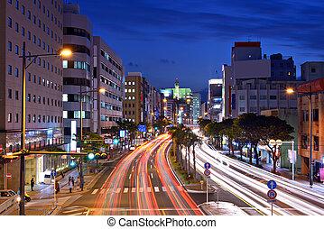 Naha, Okinawa, Japan expressway through the city.