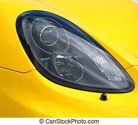 nahaufnahme, auto, headlight., gelber , sport, ansicht