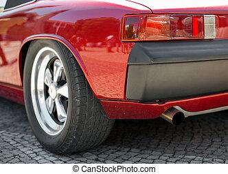 nahaufnahme, auto, headlight., retro, rotes , ansicht