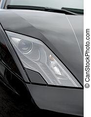nahaufnahme, auto, headlight., sport, schwarz, ansicht