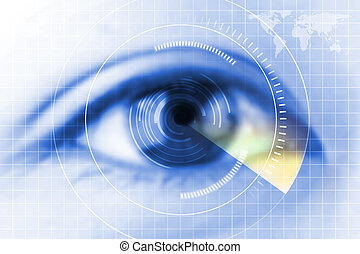 nahaufnahme blaues auge, zukunft, grauer star, schutz, überfliegen, kontakt, lens.