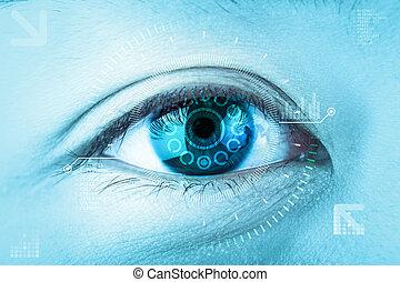 nahaufnahme, blaues, eye., hochtechnologie, der, futuristic., :, auge, grauer star