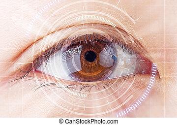 nahaufnahme, brauner, auge, zukunft, grauer star, schutz, überfliegen, kontakt, lens.