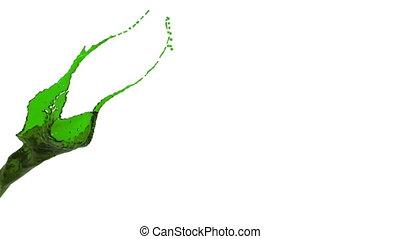 nahaufnahme, flüssiglkeit, farbe, klar, splashing., grün, ansicht