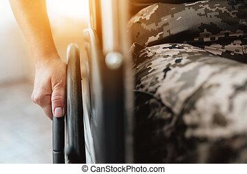 nahaufnahme, frau, zurückgegeben, foto, veteran, army.,...