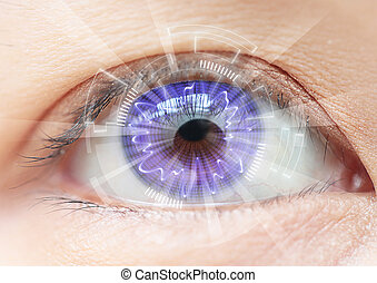 nahaufnahme, frauen, auge, technologie, :, kontaktlinse