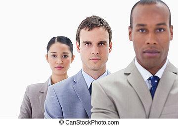 nahaufnahme, groß, gerade, fokus, schauen, mitte, ledig, ernst, workmates, linie, mann