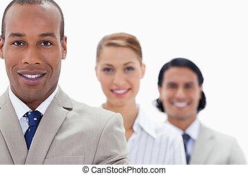 nahaufnahme, groß, workmates, einzelne linie, lächeln