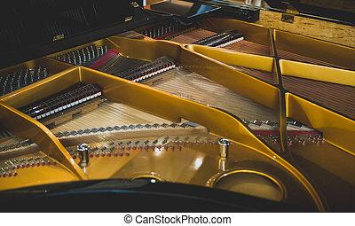 nahaufnahme, großartig, königlich, ansicht., innenseite, piano.