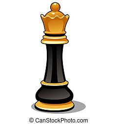 nahaufnahme, illustration., königin, freigestellt, hintergrund., vektor, schwarz, schach, weißes, stück, karikatur