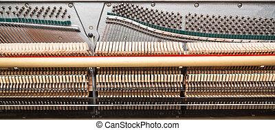 nahaufnahme, innenseite, piano., hämmer, bezug, ansicht