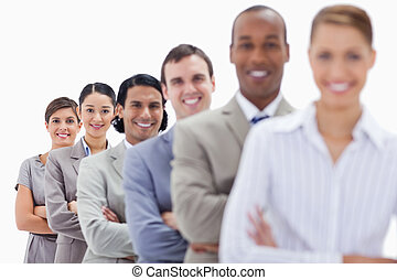 nahaufnahme, letzter , leute, angezogene , workmates, fokus, arme, ihr, ledig, zwei, überfahrt, linie, klagen, lächeln