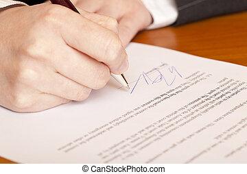 nahaufnahme, makro, von, unterzeichnung, a, vertrag
