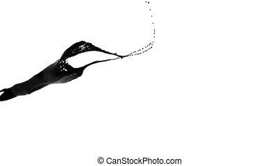 nahaufnahme, oel, flüssiglkeit, farbe, splashing., schwarz, ansicht