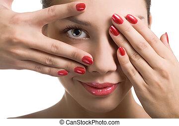 nahaufnahme, porträt, von, sexy, kaukasier, junge frau, mit, rotes , hell, nagelkosmetik