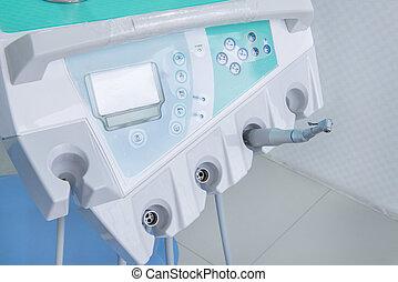 nahaufnahme, von, dentales werkzeug, ausrüstung, in, dental, klinik