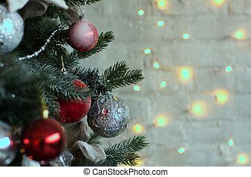 nahaufnahme, von, der, kugeln, auf, a, weihnachtsbaum