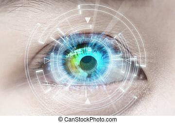 nahaufnahme, von, frau, blaues, eye., hoch, technologien, kontaktlinse, grauer star
