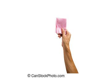 nahaufnahme, von, hand holding, rosafarbenes papier, serviette, freigestellt, weiß, hintergrund., ausschnitt weg, von, hand holding, gegenstand, gegen, weißes, hintergrund.