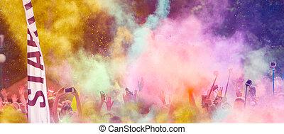 nahaufnahme, von, marathonläufer, mit, gefärbt, pulver