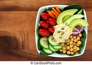 nahrhaft, quadrat, avocado, gemuese, schüssel, hummus, holz,...