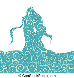 Naiad water nymph pattern silhouette ancient mythology...