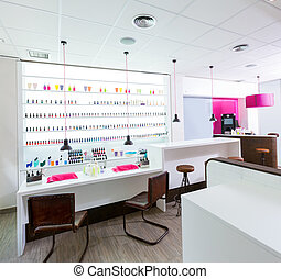 Nail and pedicure saloon modern with nail polish colorful in a row on white background