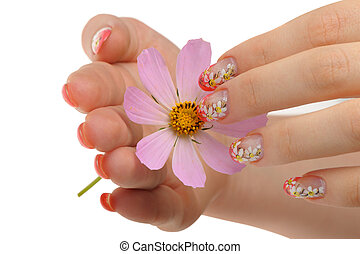 Nail art and flower - Nail art. Female nails with figure of...