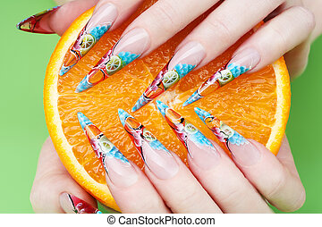 nail art close-up - close-up of women hands with artistic...