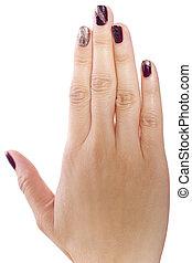 Nail Art - female hand with custom nail polish art on white...