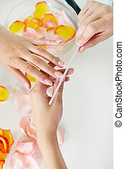 Nail beauty - Nail treatment in a professional spa salon