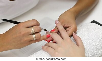 Nail extension gel apply with brush - Fingernail treatment,...