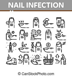 Nail Infection Disease Collection Icons Set Vector