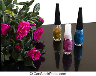 nail polish and a bouquet of roses