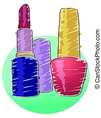 Nail polish and lipstick - Nail polish and lipstick with...