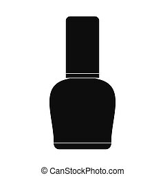 Nail polish bottle black simple icon isolated on white...