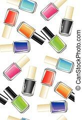 Nail Polish Bottle - Glossy colorful nail polish, lacquer in...