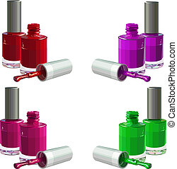 Nail polish - Bottles of nail polish, isolated on white ...