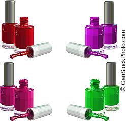 Nail polish - Bottles of nail polish, isolated on white ...