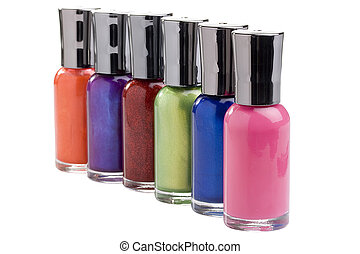 Nail polish bottles on a white background.