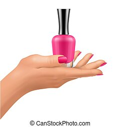 Nail polish bottles on hand with shiny lacquer fingernails....