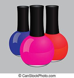 Nail polish - Maroon nail polish in a glass bottle. Vector...