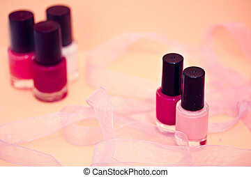 nail polish colors and flower, cosmetics and spa