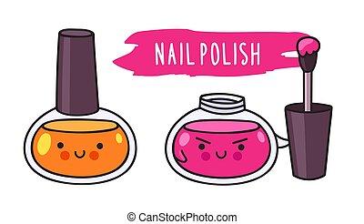 Nail polish. Cute cartoon doodle character.
