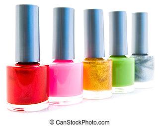nail polish - different color nail varnish bottles over...
