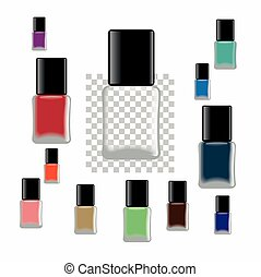 Nail polish. Different colors of bottles and empty bottles....