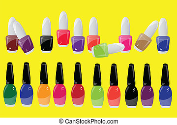nail polish - collection of nail polish on yellow background...
